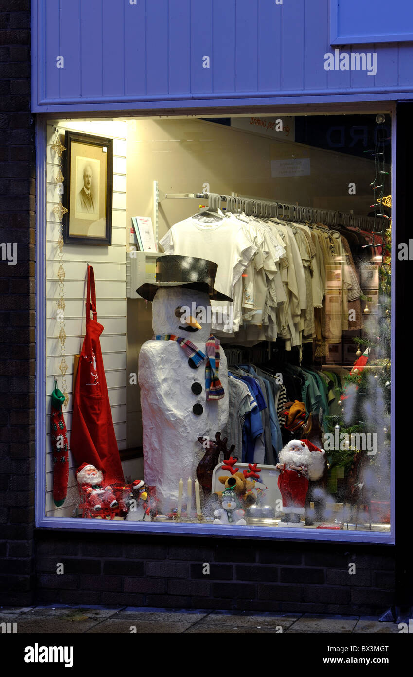 The Blue Cross charity shop window at Christmas, Warwick, UK - Stock Image