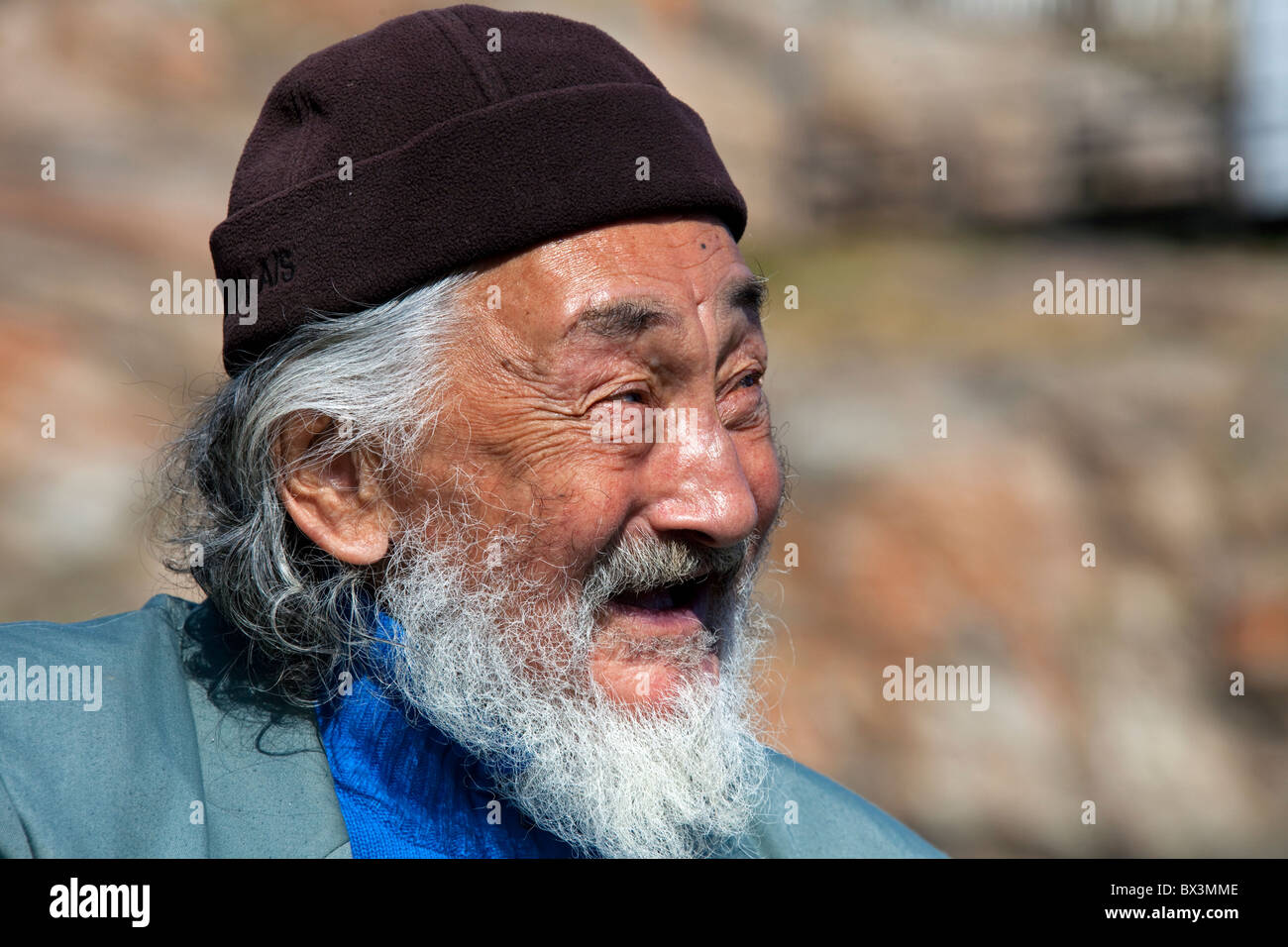 Portrait of elderly Inuit man from Uummannaq, North-Greenland, Greenland - Stock Image