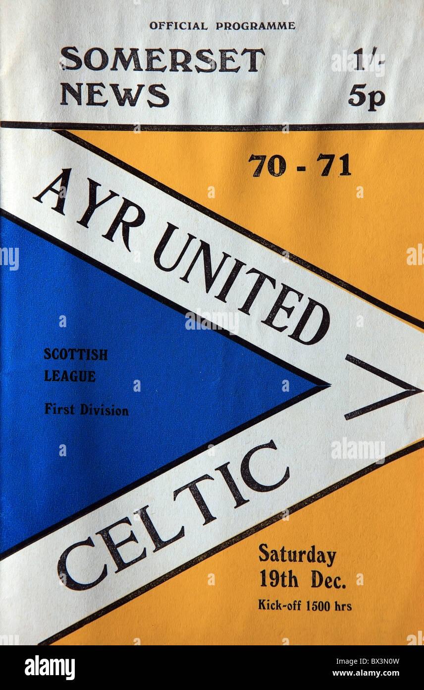 Football programme for Ayr United v Celtic game in the Scottish League First Divison 19 December 1970 - Stock Image