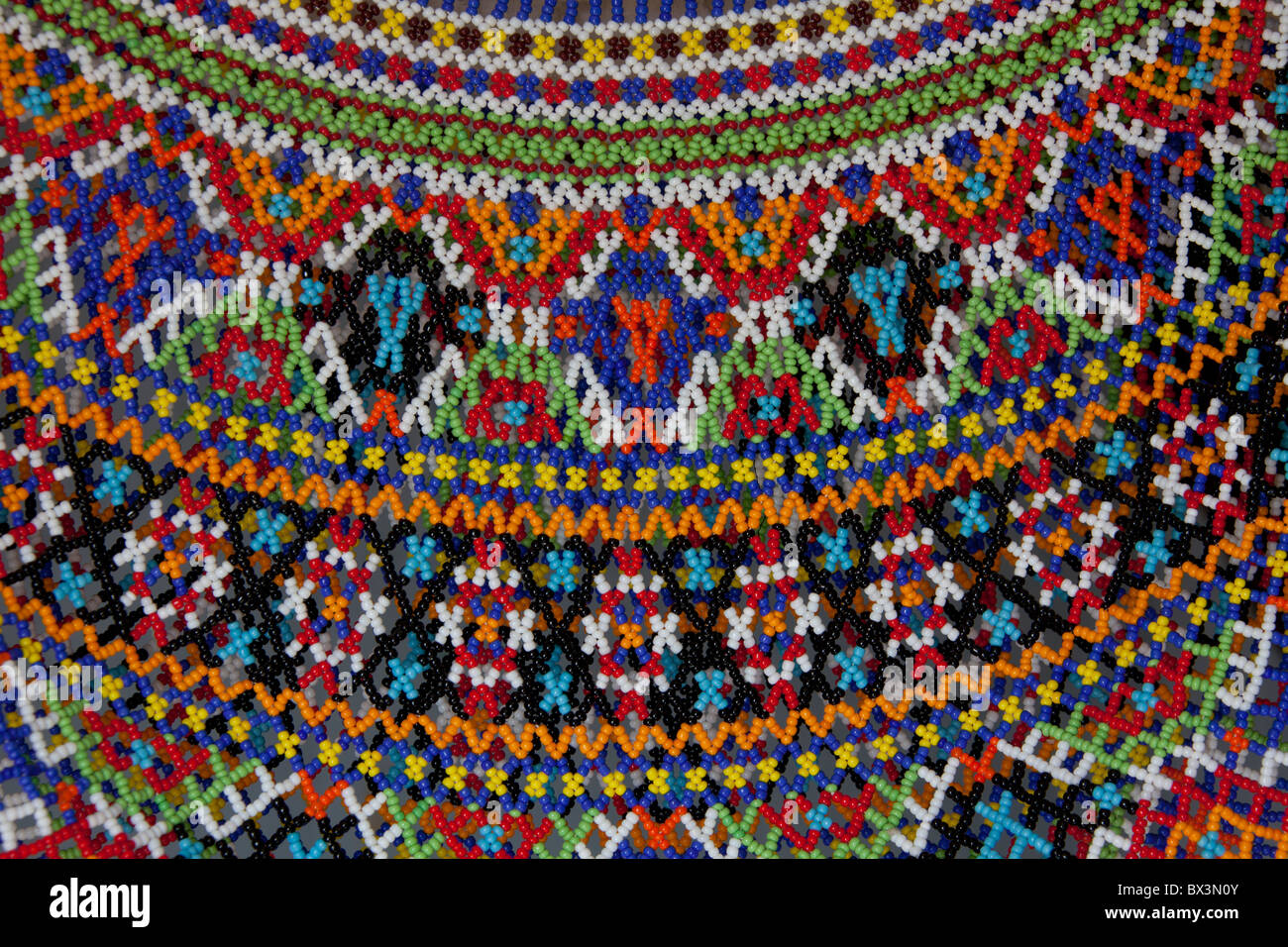 Detail of traditional costume made of beads at the Uummannaq Museum, North-Greenland, Greenland - Stock Image