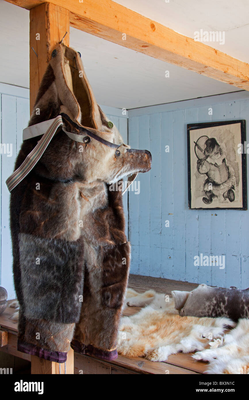 Trousers made of fur in traditional house at the Uummannaq Museum, North-Greenland, Greenland - Stock Image