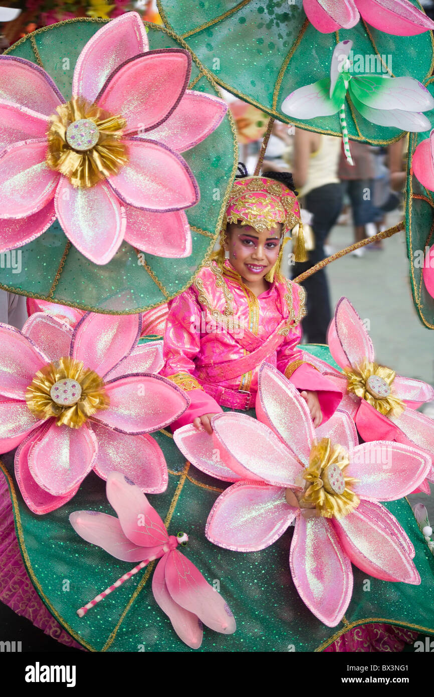 Trinidad Junior Carnival Pretty Young Girl In Pink Lotus Flower