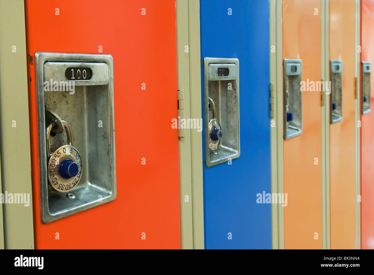 Combination Locks On A Row Of Lockers - Stock Image