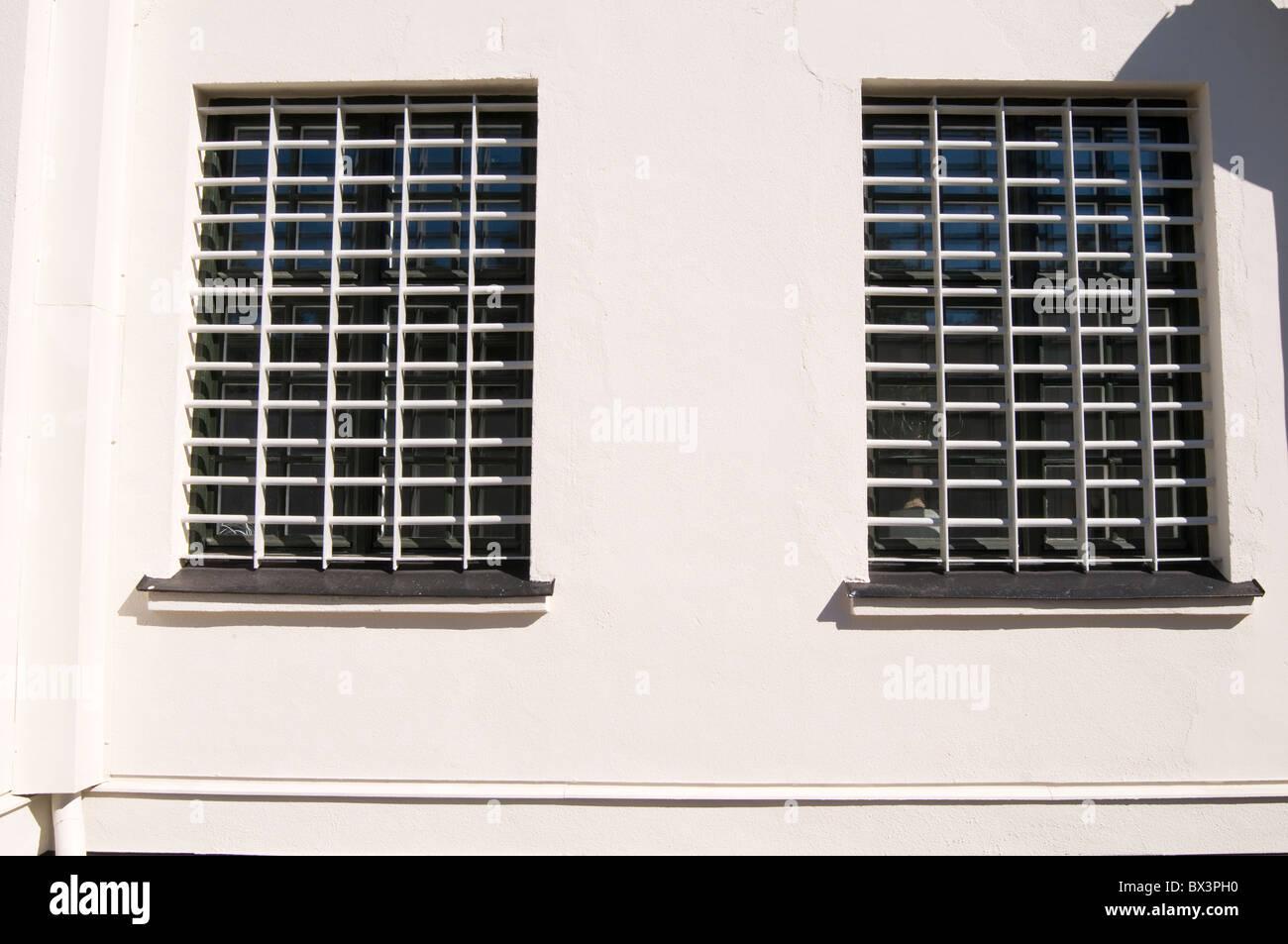 jail cell cells window bar bars on prison prisons  incarceration prisoner prisoners crime punishment law breaking - Stock Image