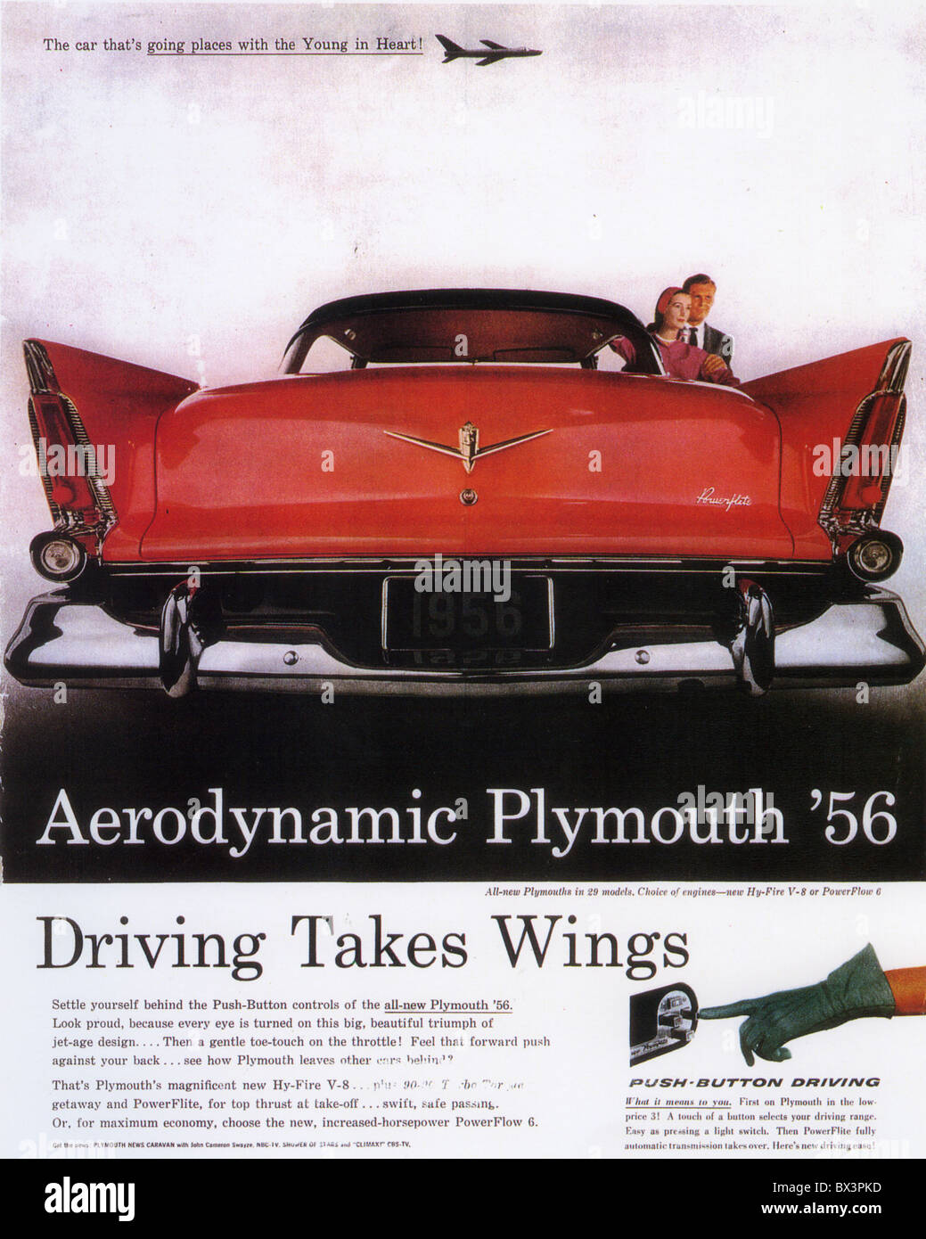 PLYMOUTH 1956 ADVERT - Stock Image