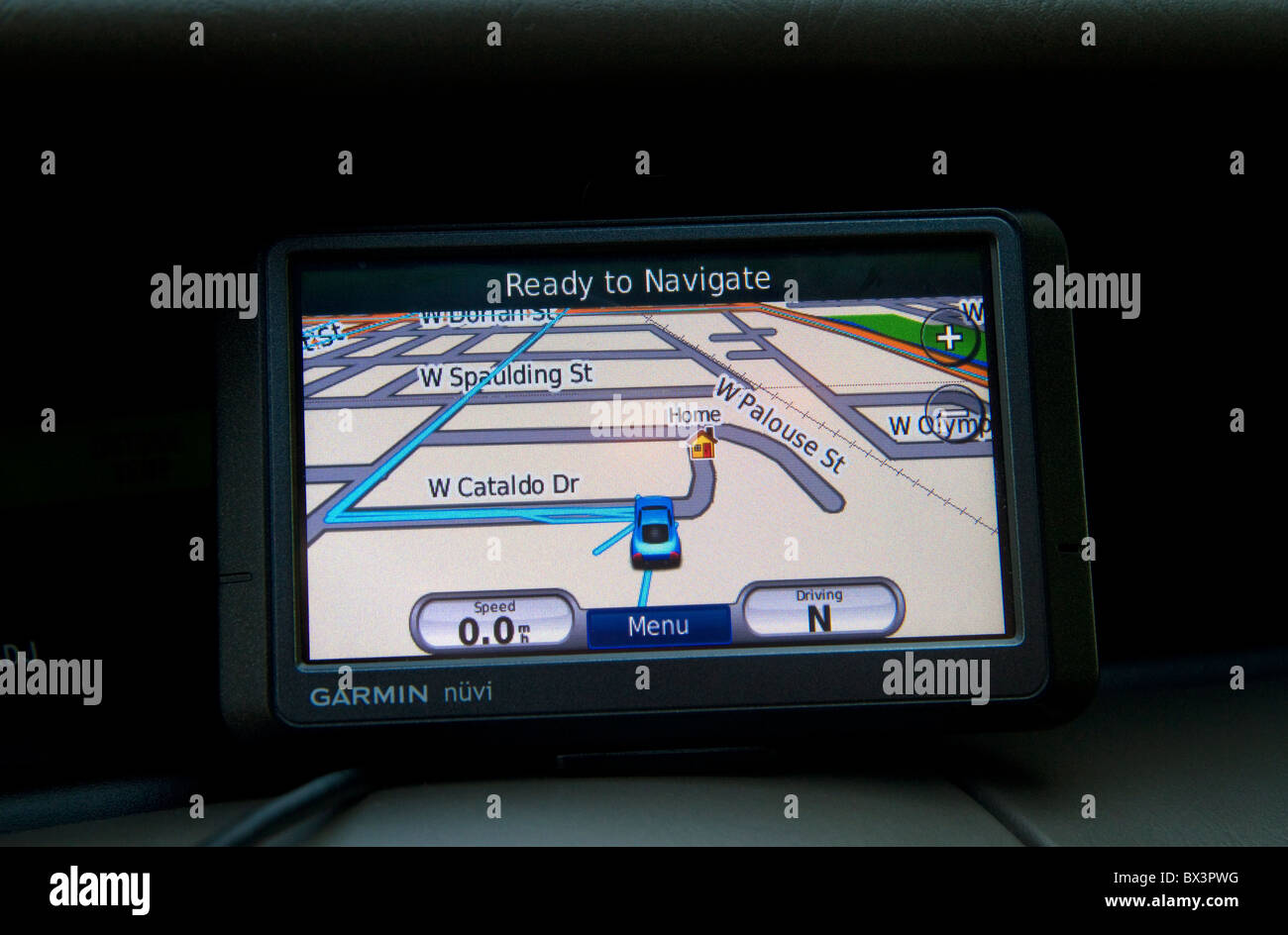 GPS navigation device being used in a car. Stock Photo