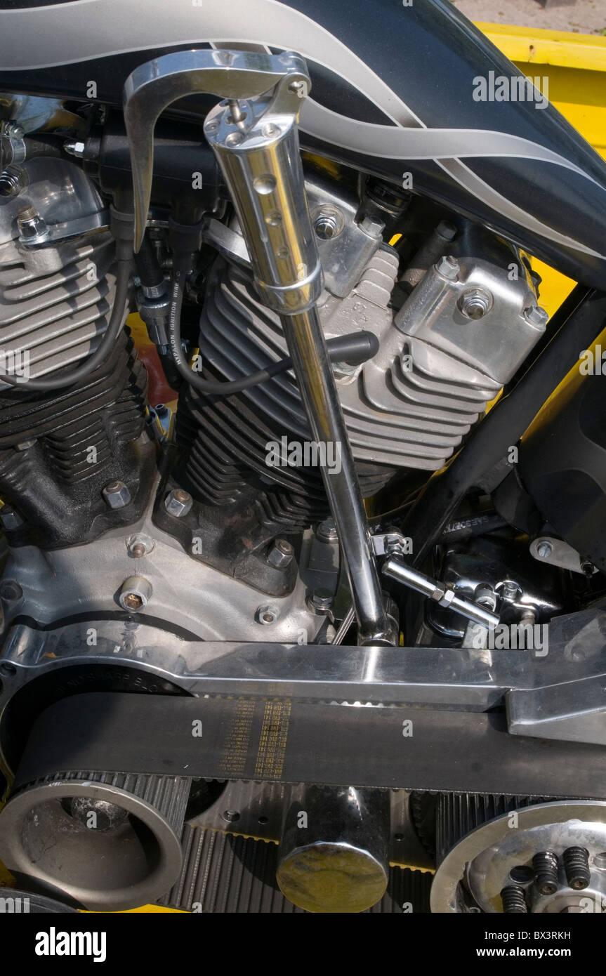 harley davidson v twin engine bike cycle bikes engines motor motorbike motorcycle bike cycle chopper suicide shifter - Stock Image