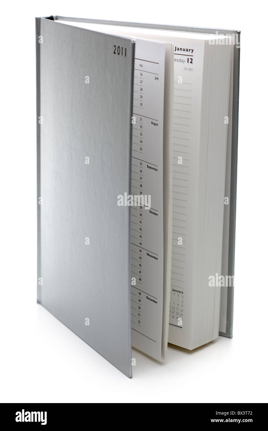 Silver hardback 2011 diary book---- dates January date pages open book 12th - Stock Image