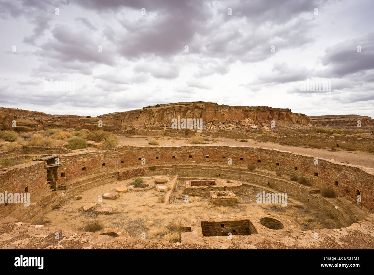 The Sacred Kiva at Anasazi Great House of Chetro Ketl at The Chaco Culture National Historic Site in Chaco Canyon, Stock Photo