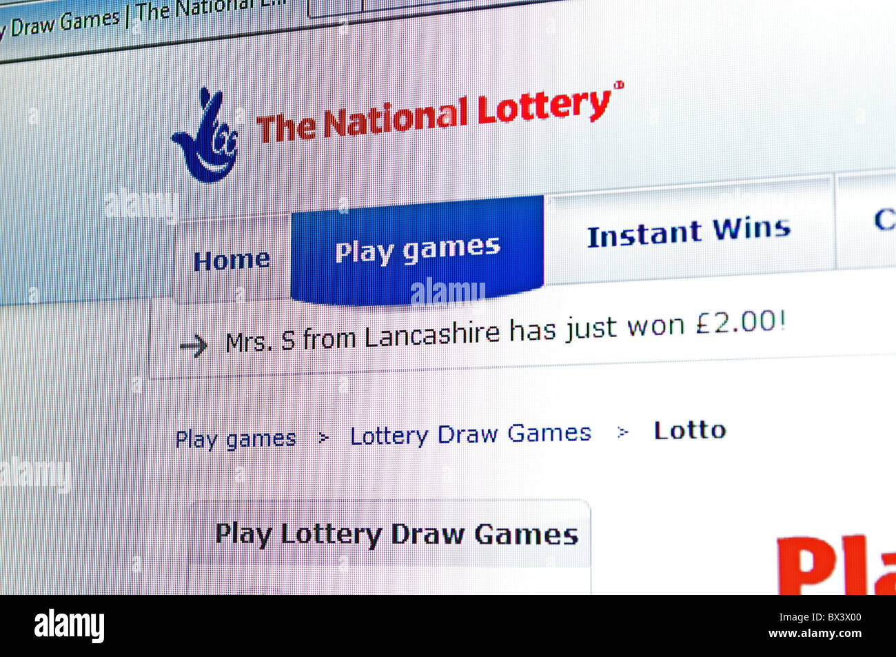 the national lottery web page - Stock Image