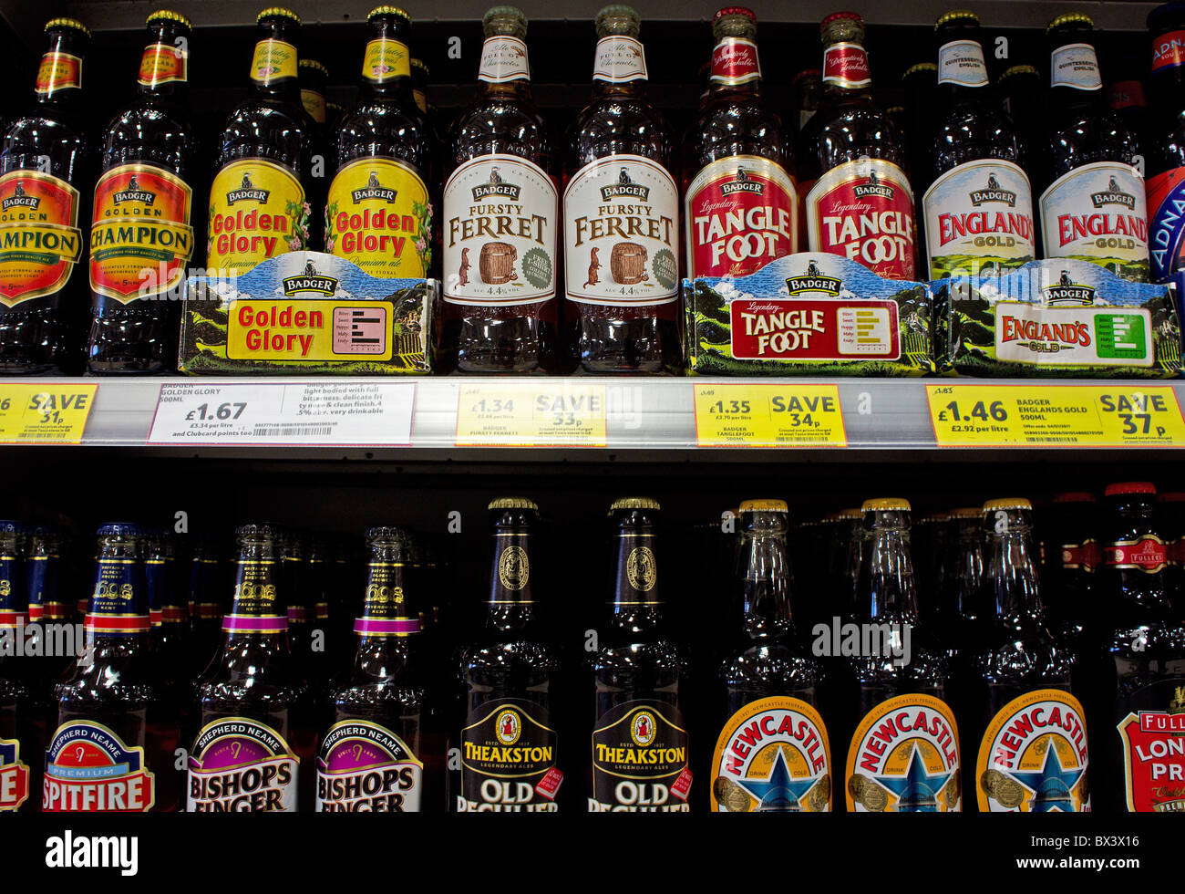 a selection of bottled beers in a uk supermarket - Stock Image