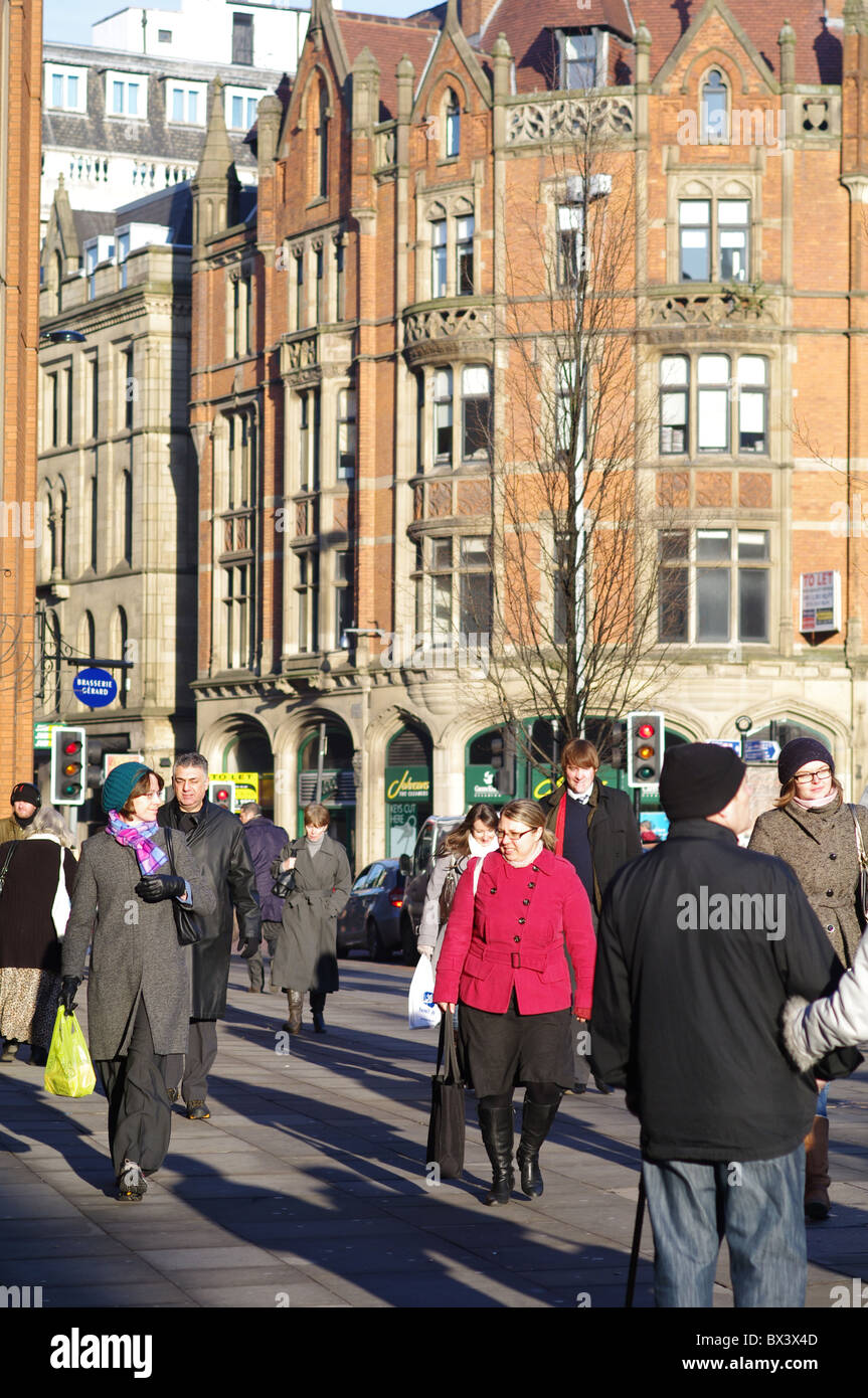 Christmas shoppers on Cross Street Manchester - Stock Image
