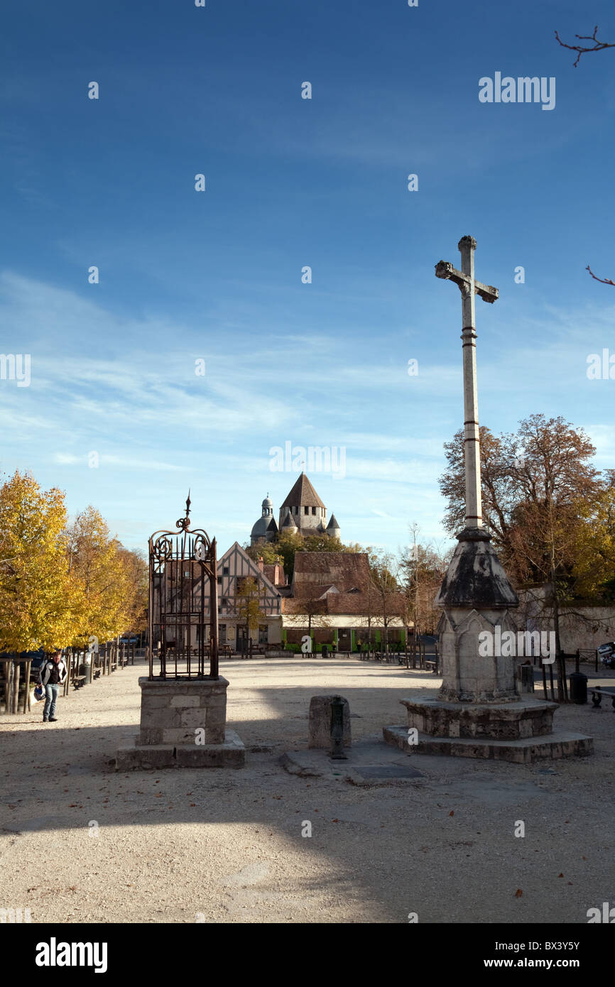 The central town square, the medieval town of Provins, Seine et Marne, Ile de France, France - Stock Image