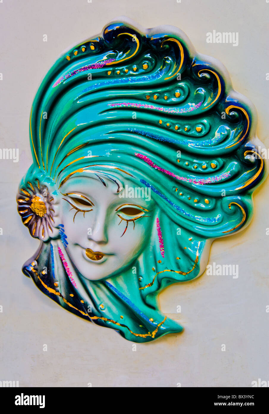 Mardi Gras ceramic wall display - Stock Image