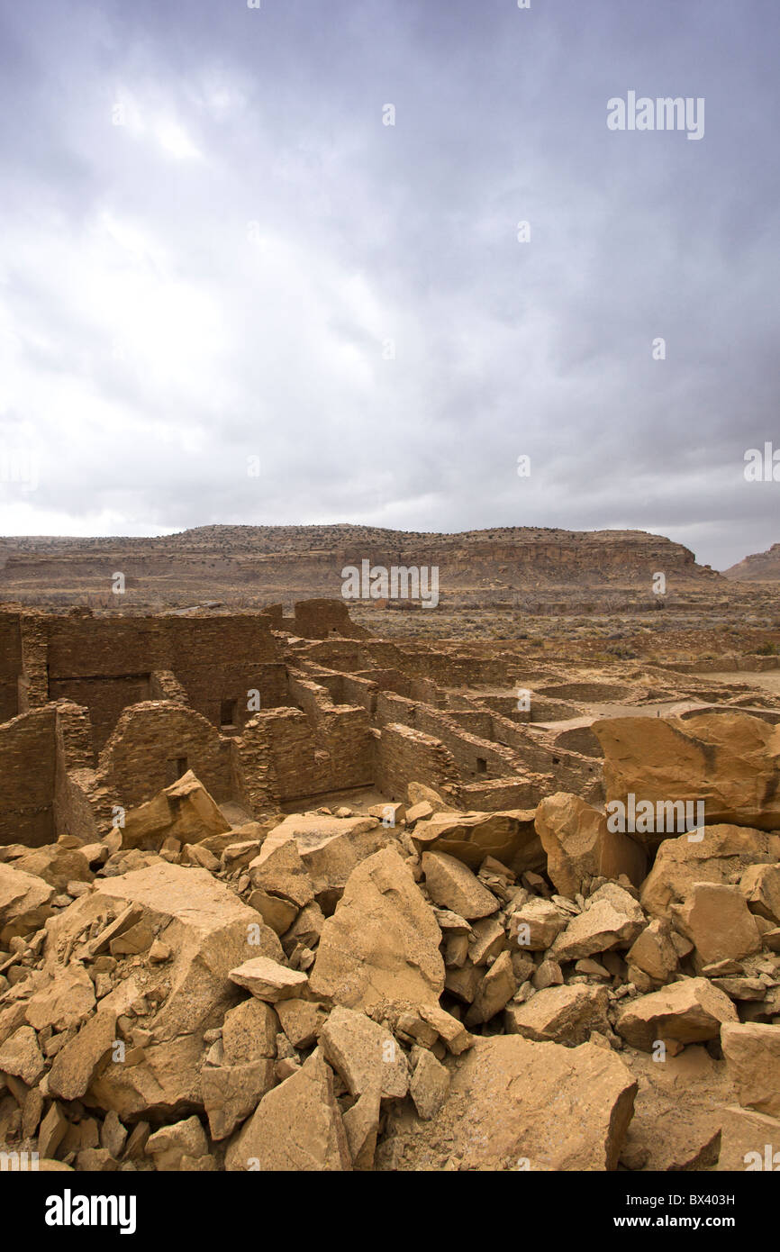 Looking across Chaco Canyon from Pueblo Bonito a Chacoan Great House in Chaco Culture National Historic Park, New - Stock Image