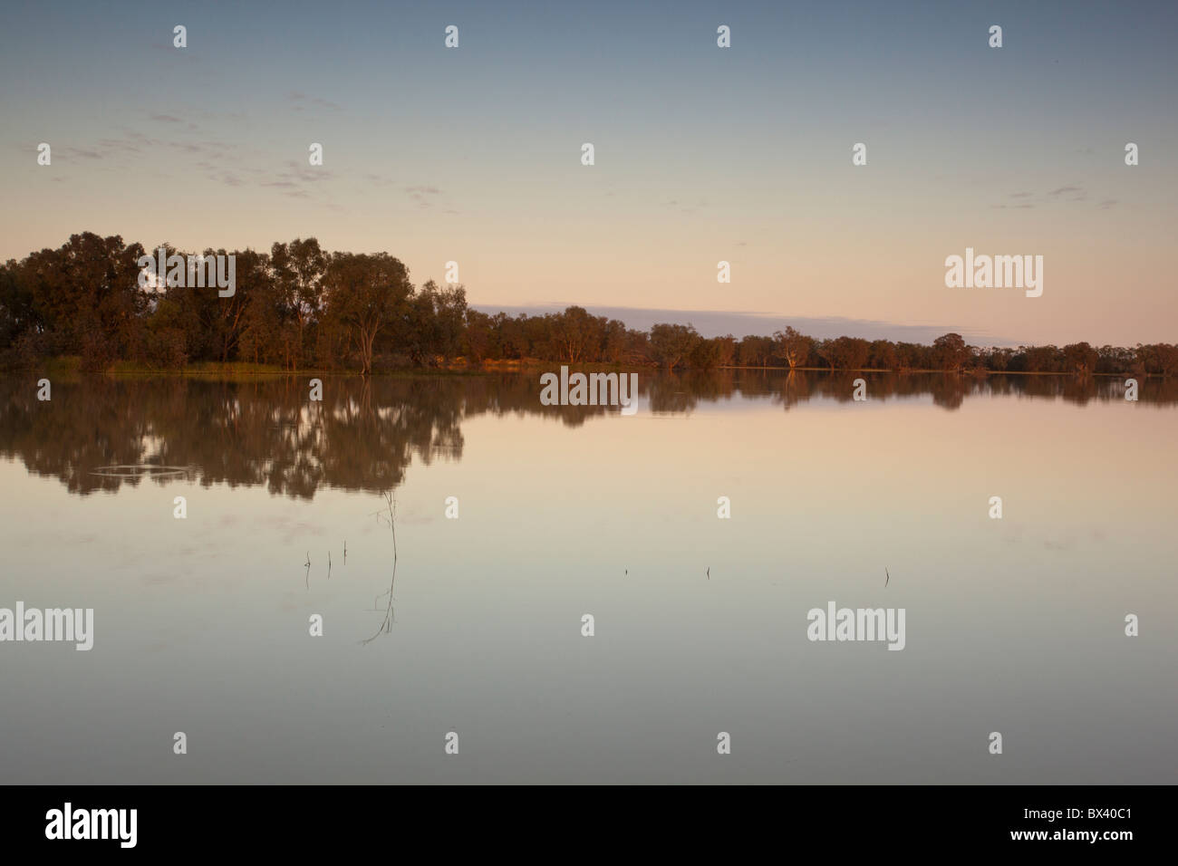 Early morning reflections over the lake at Copi Hollow, Menindee, Broken Hill, New South Wales - Stock Image