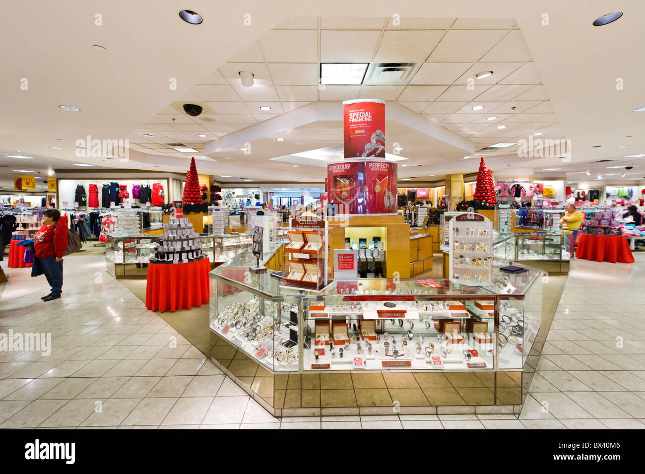 Watch and Jewelry counter in a JCPenney store at the Eagle Ridge Mall, Lake Wales, Central Florida, USA - Stock Image