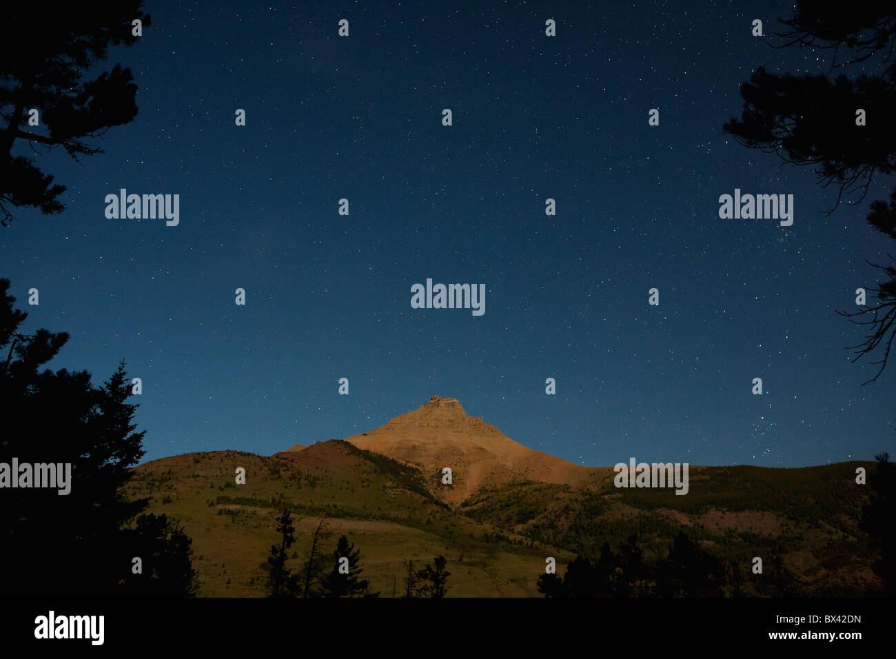 Moon Lit Mountain With Stars In The Sky; Waterton, Alberta, Canada Stock Photo