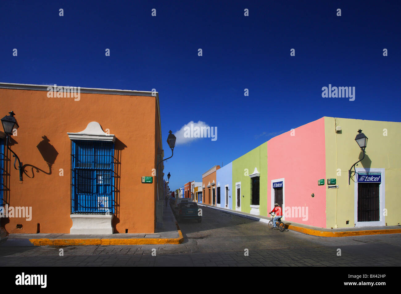 Mexico central america campeche town city old town houses homes different colors colored paints colonia l
