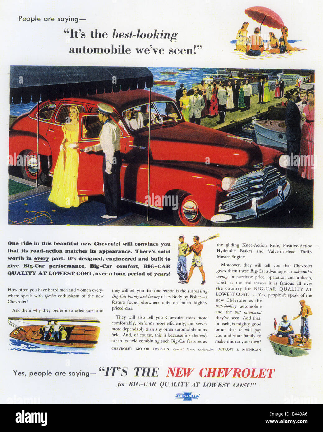 CHEVROLET CAR ADVERT 1949 - Stock Image