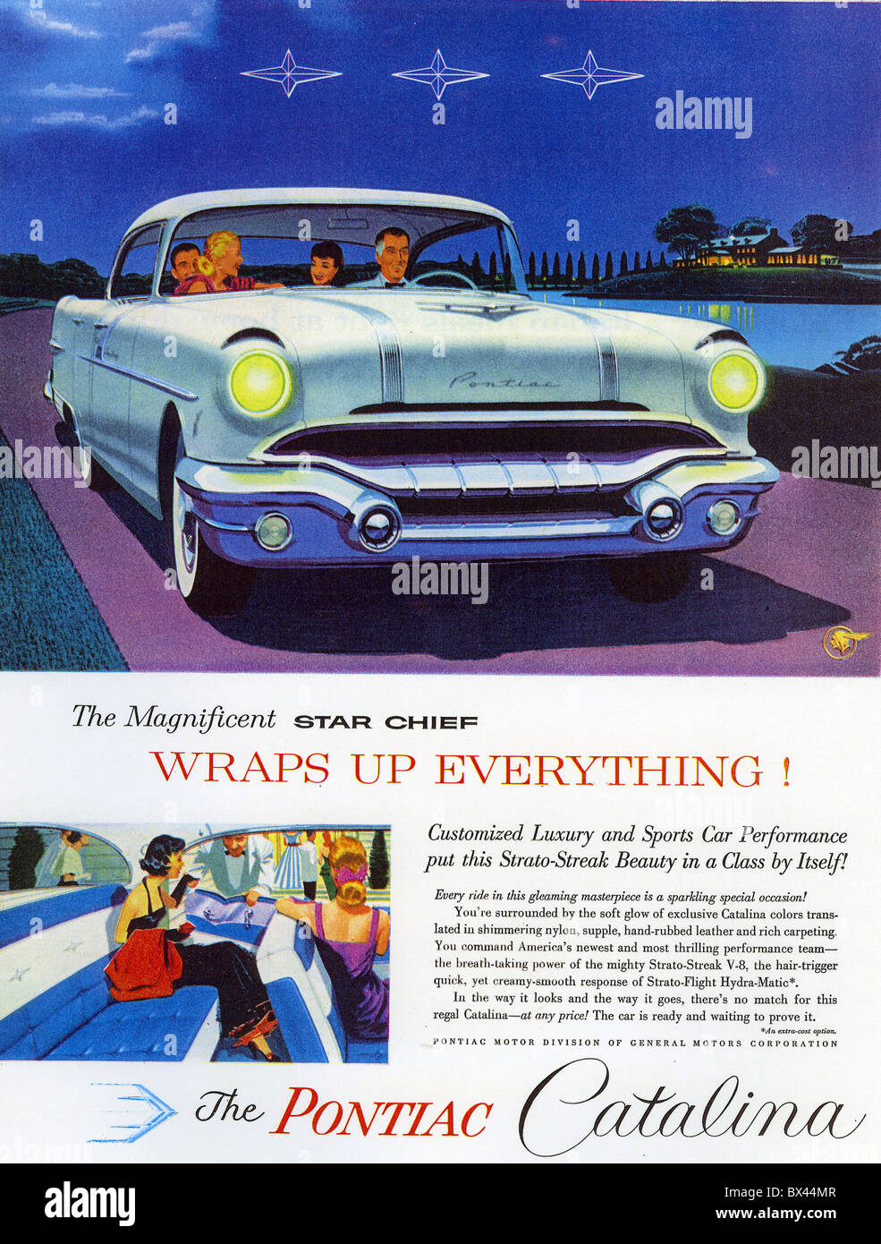 1956 PONTIAC CATALINA ADVERT Stock Photo