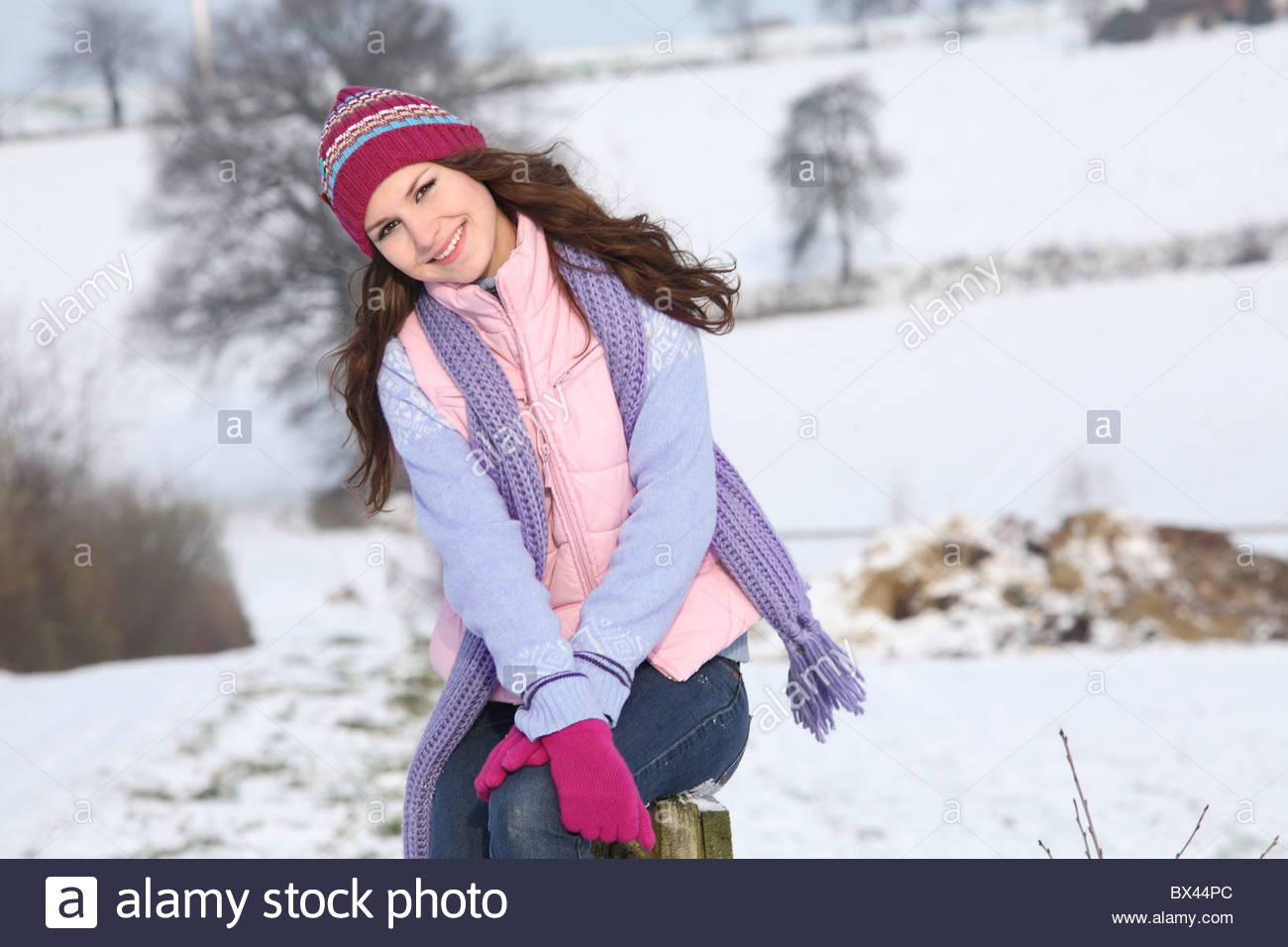 woman in winter - Stock Image