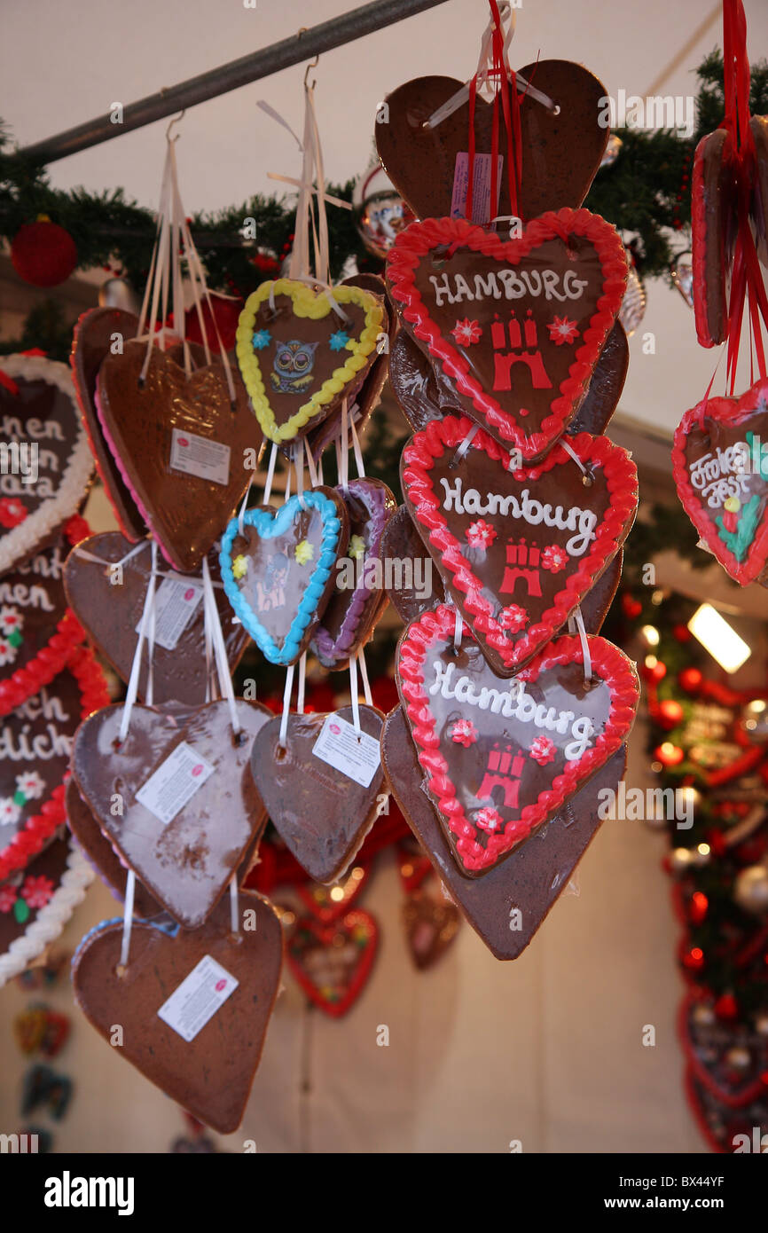 Shot of traditional German Lebkuchen hanging at a Weihnachtsmarkt stall in Hamburg. Stock Photo