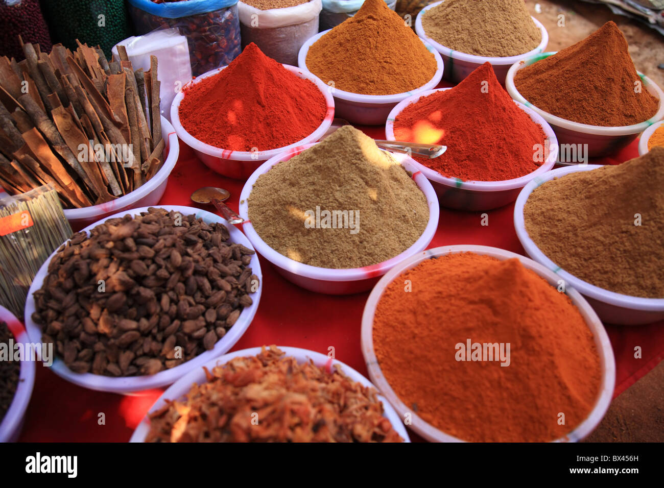 Cooking spices in Indian market in Goa - Stock Image