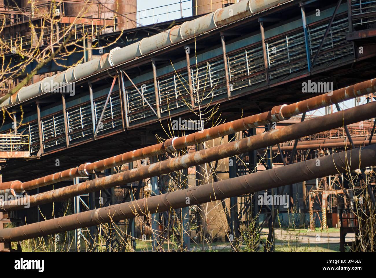 Pipelines, Vitkovice Iron and Steel Works, Ostrava, Moravian-Silesian Region, Czech Republic - Stock Image