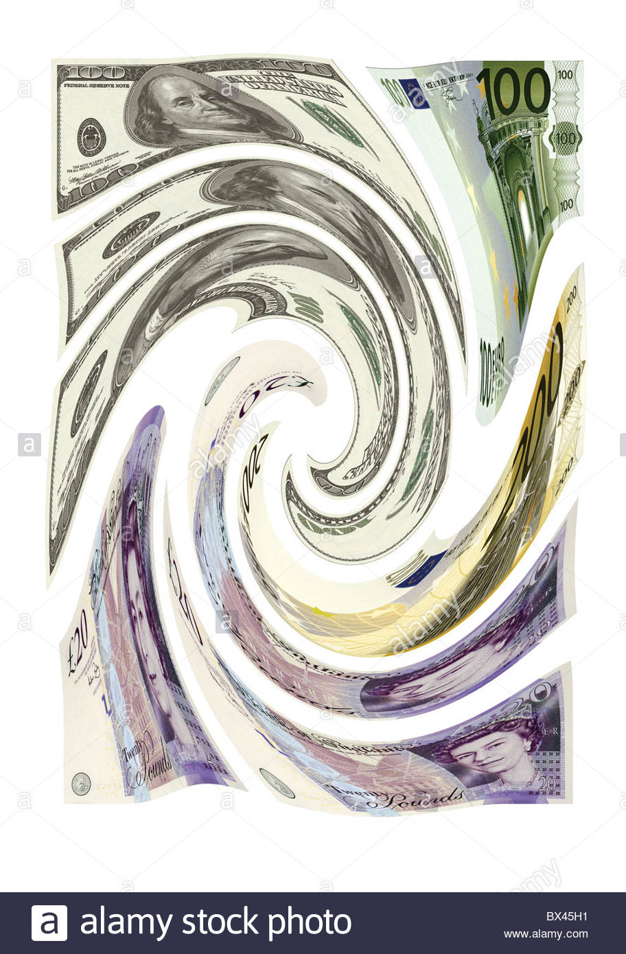 Dollars, Pounds sterling and Euros banknotes all in a swirling motion Stock Photo