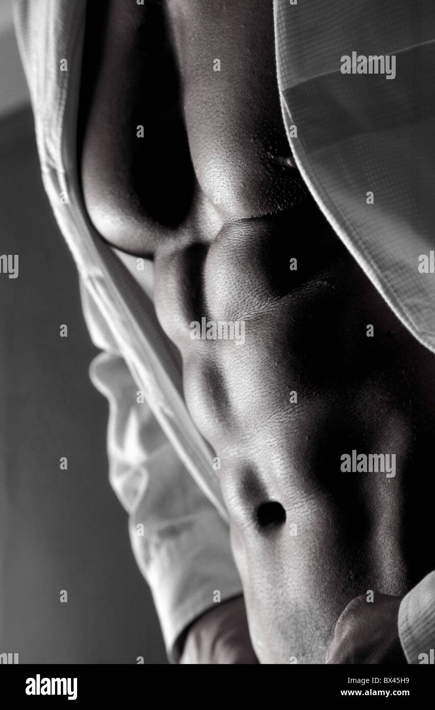 man belly detail body detail Sixpack trains sporty stomach muscles ...