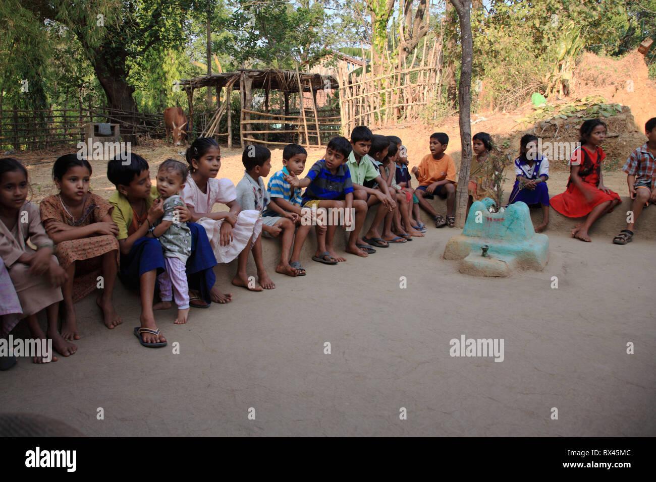 School children in the playground, Goa India - Stock Image