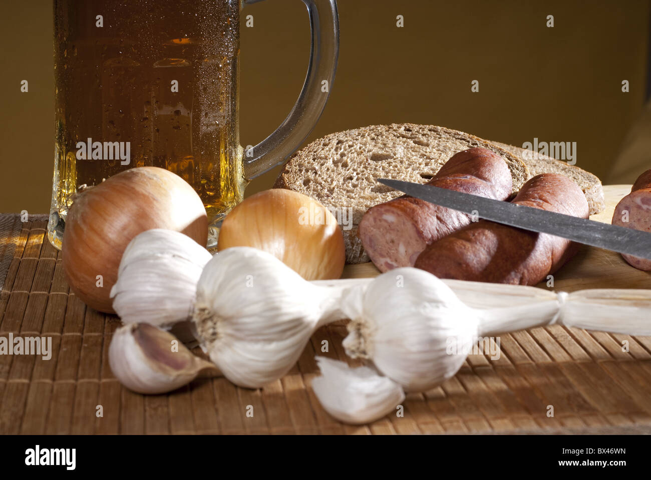 beer with garlic - Stock Image