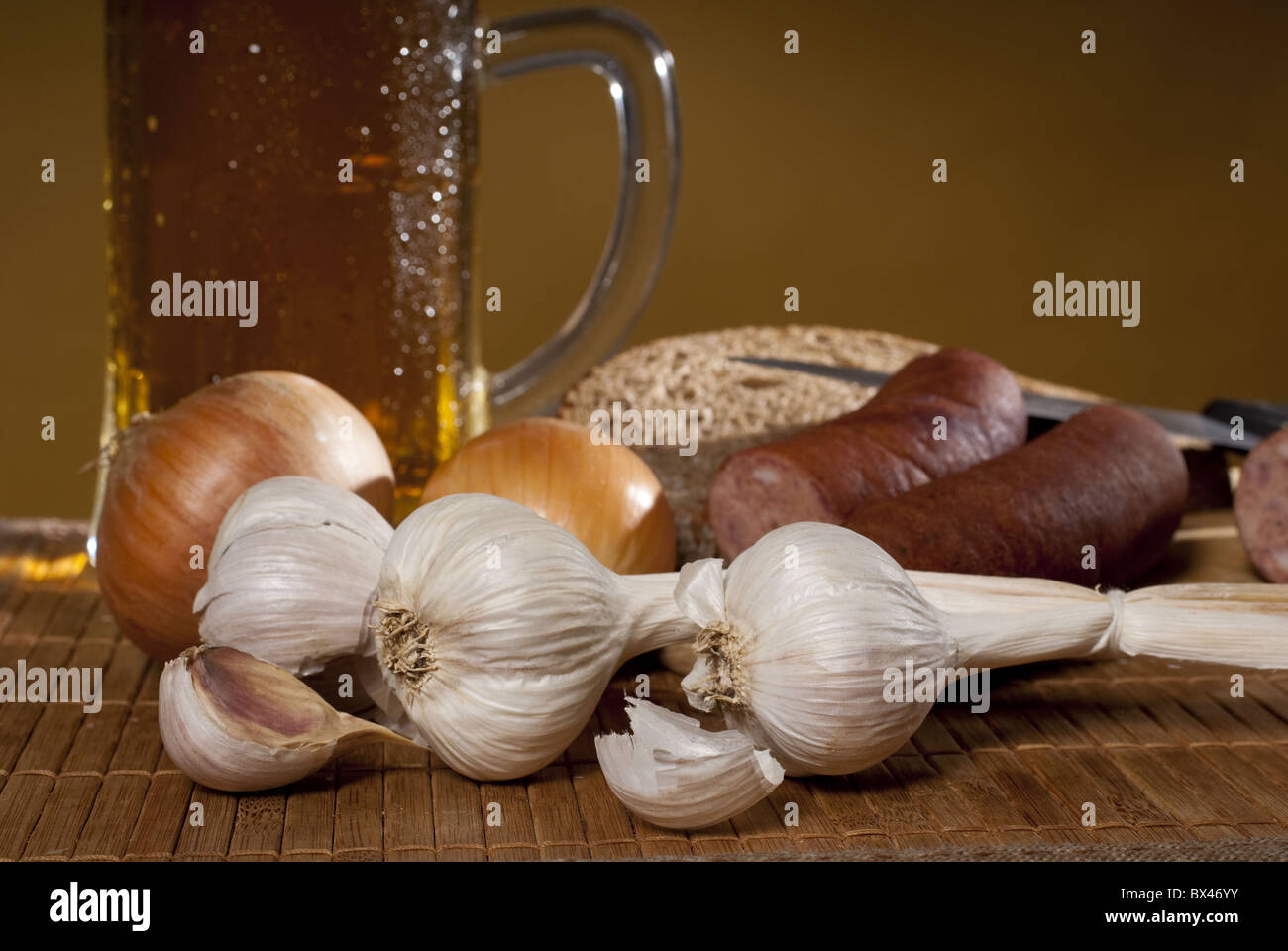 glas of beer with garlic - Stock Image