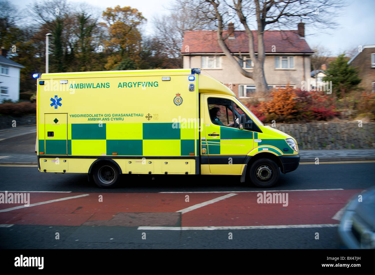 An ambulance responding to a 999 emergency call, UK - Stock Image