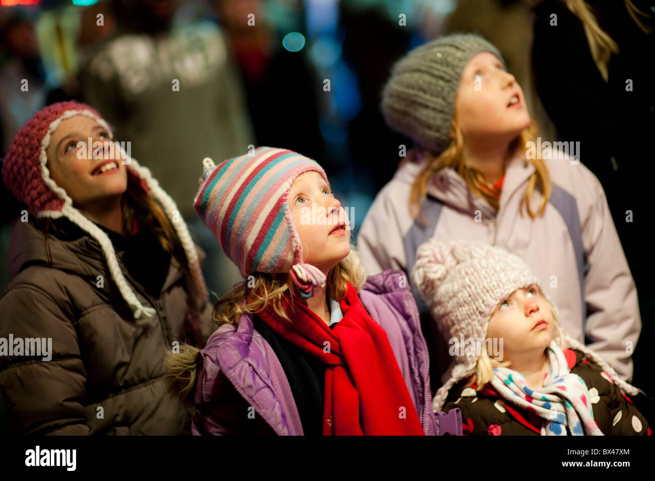 Young children looking entranced at Aberystwyth November Fair , Wales UK - Stock Image