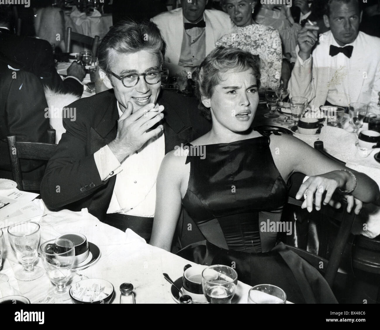 7a8782641b03 JAMES DEAN with Ursula Andress at a Hollywood lunch about 1955 Stock ...