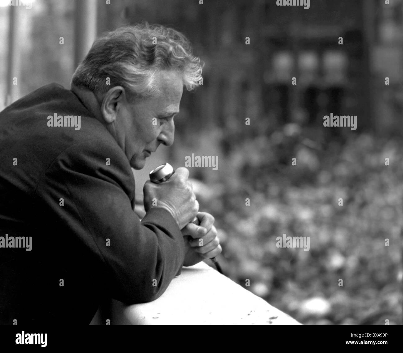 President Antonin Novotny during May day speech to Prague citizens. Prague, Czechoslovakia 1964. (CTK Photo) - Stock Image