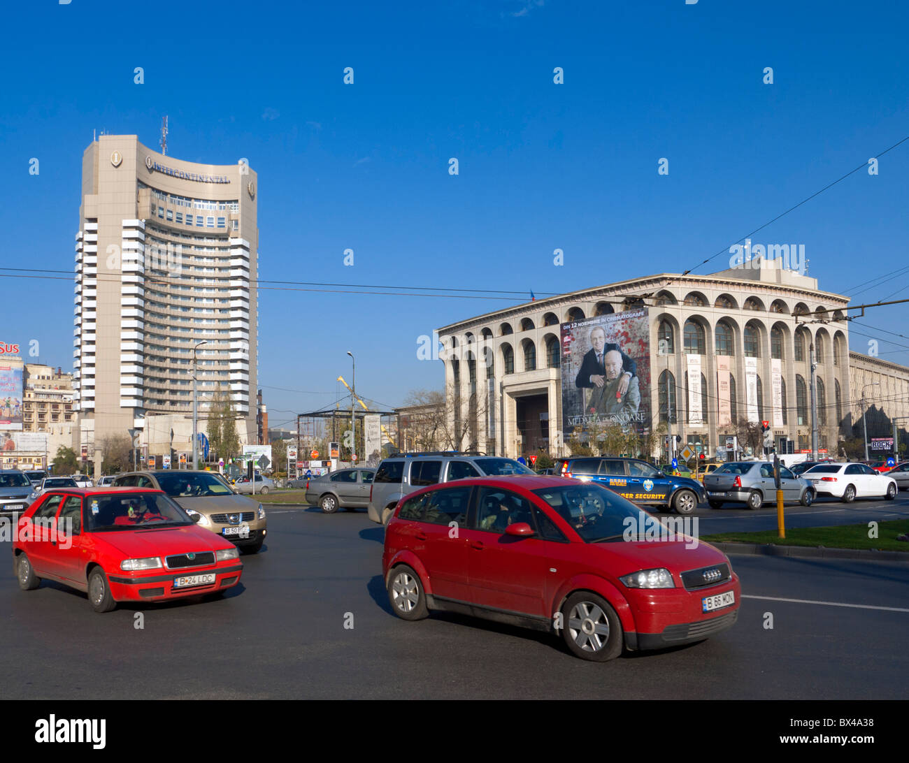 View of traffic on university Square in Bucharest Romania - Stock Image