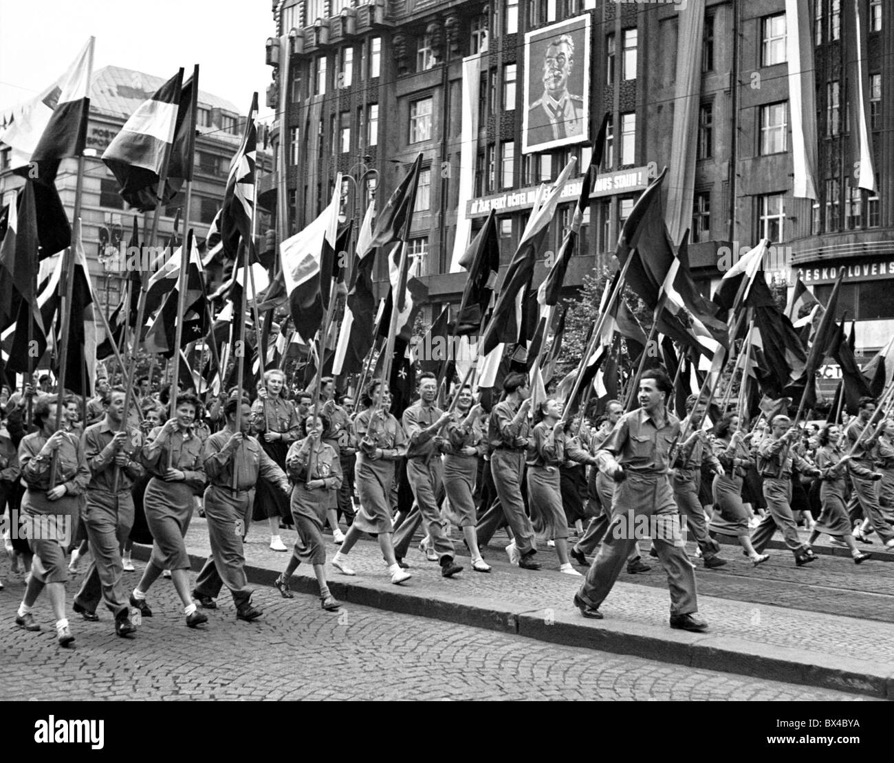young Communists march on - Stock Image