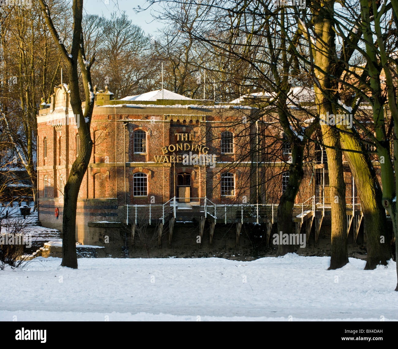 Bonding Warehouse Building in snow - Stock Image