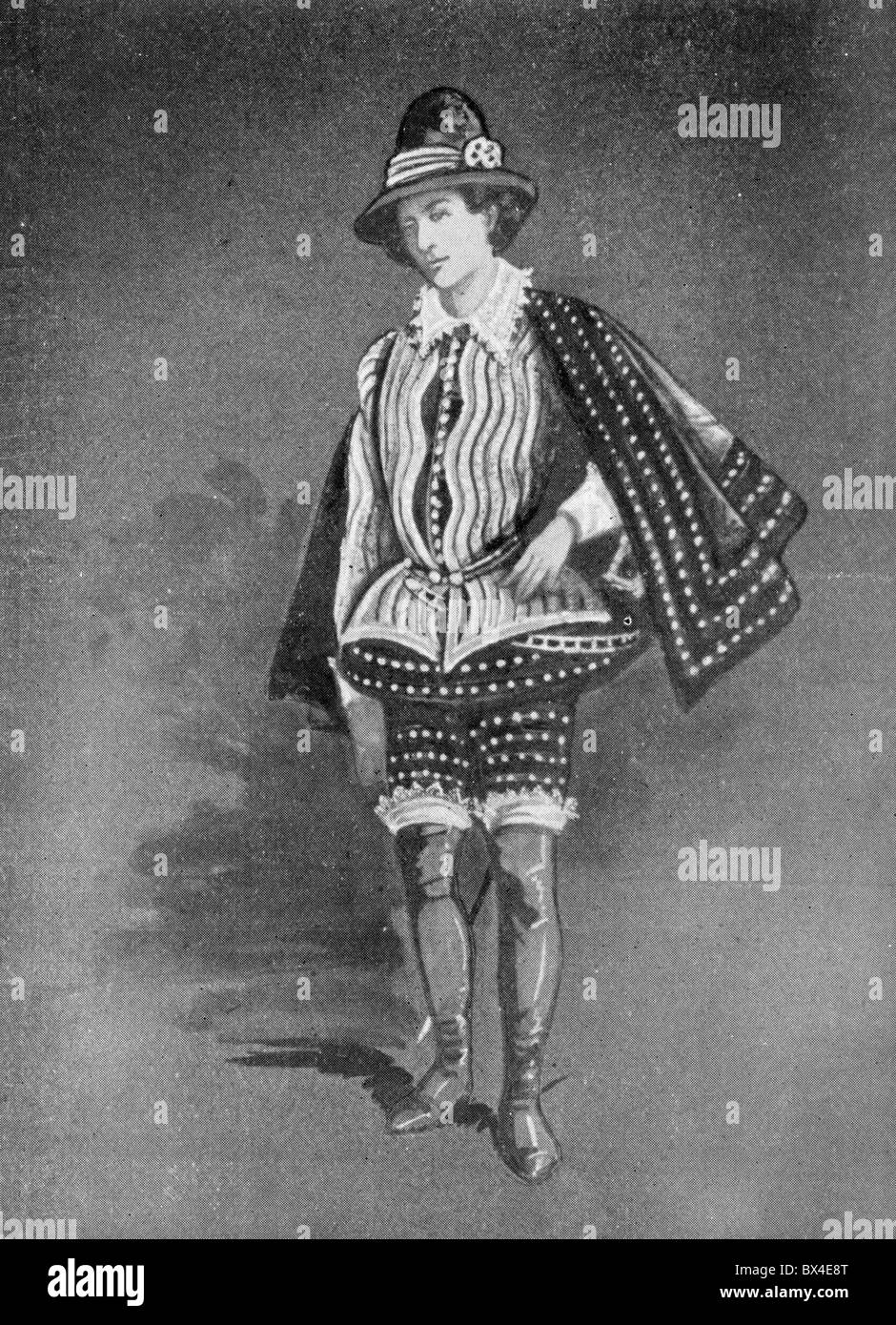 Costumes worn in England during Shakespeare's time; Sir Philip Sidney; Black and White Illustration; - Stock Image