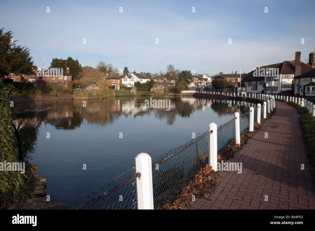 Typical English village scene with pond - Lindfield in West Sussex - Stock Image