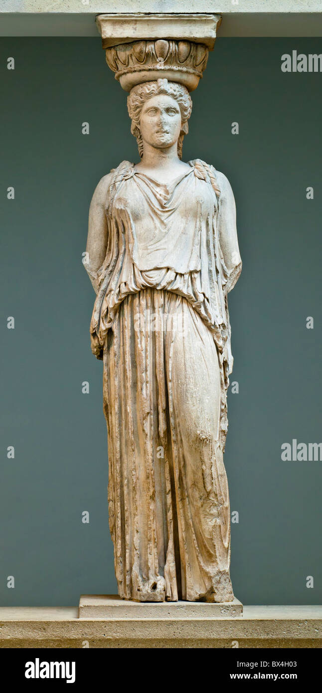 An original caryatid from the Erechtheion of Athens, now on display in the British Museum, London. Ca. 420 BC. - Stock Image
