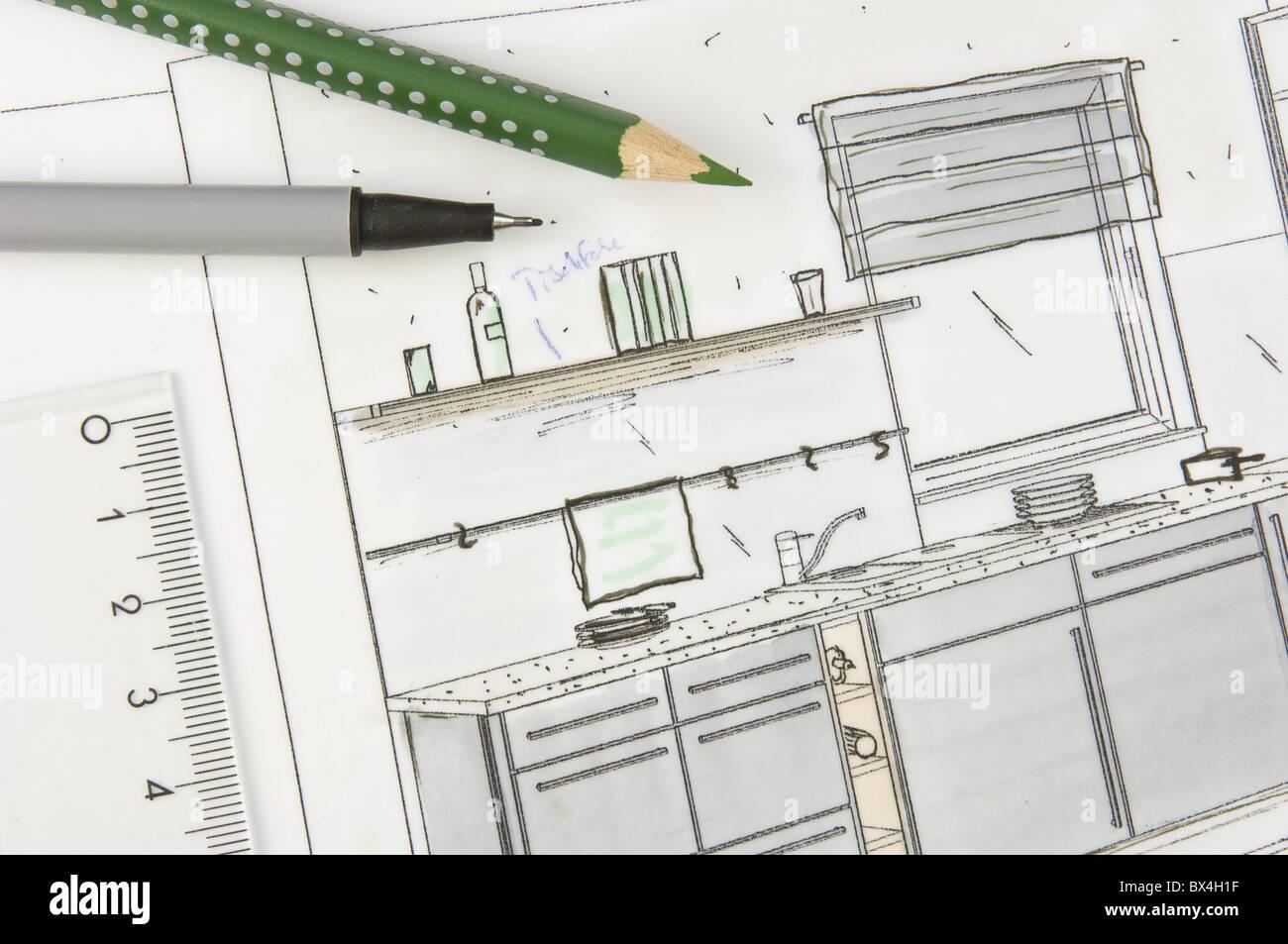 kitchen space planning Stock Photo