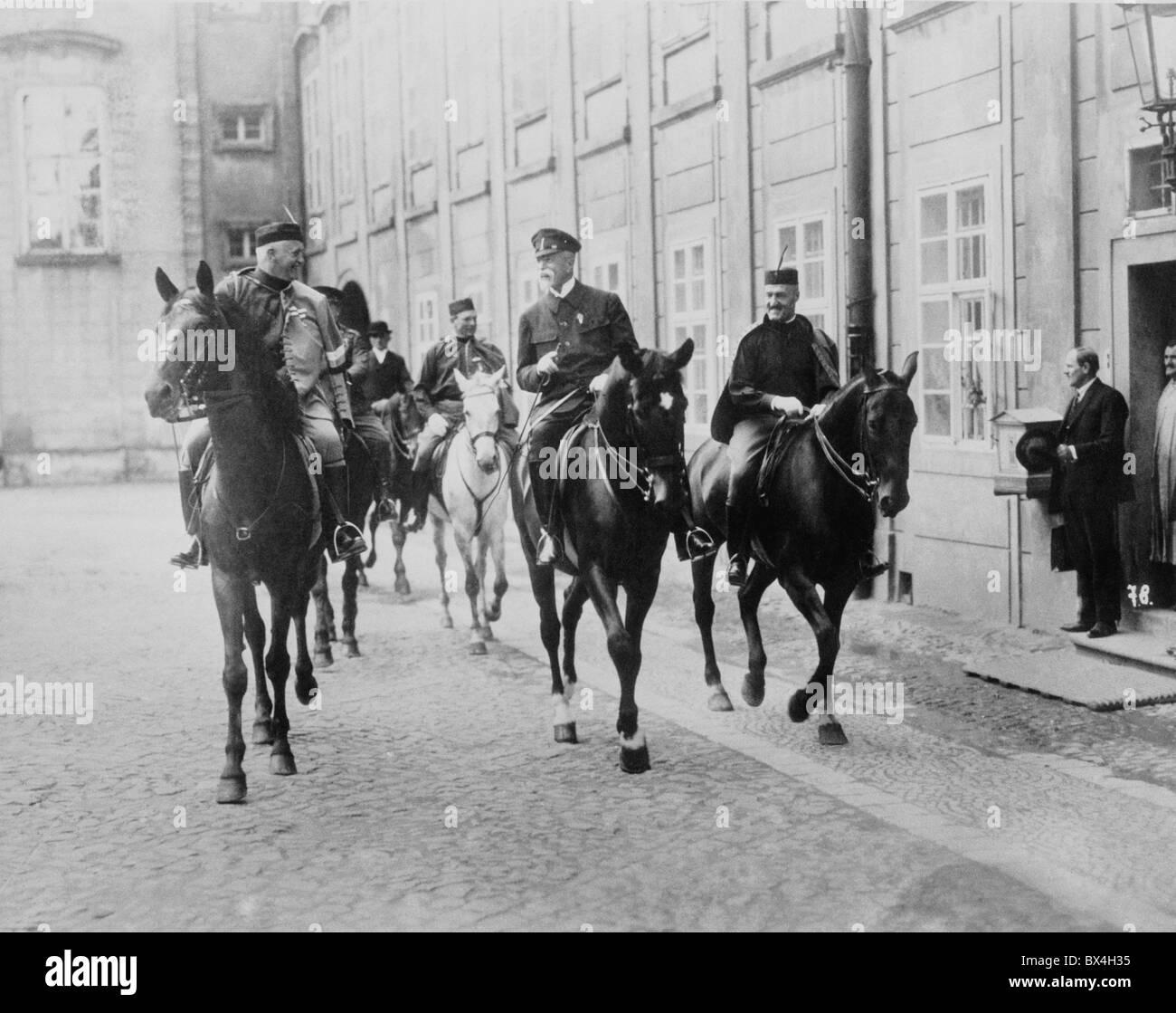 President Masaryk on horseback accompanied by Sokols. - Stock Image