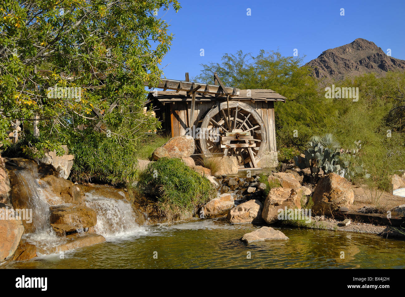 Stage-set of a watermill at The Old Film Studios, near Tucson in Arizona, USA - Stock Image