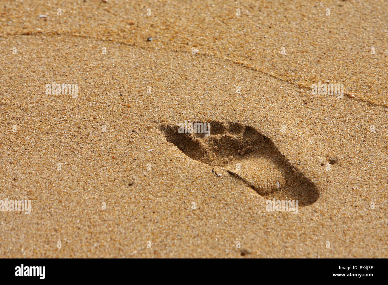 A footprint in the sand - Stock Image