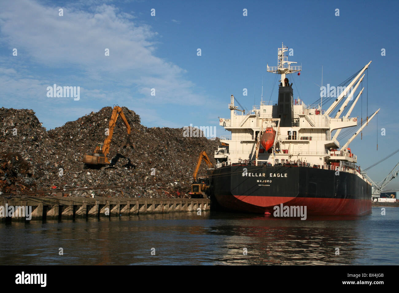 The Cargo Ship 'Stellar Eagle' Being Loaded With Scarp Metal At Liverpool Docks, UK - Stock Image