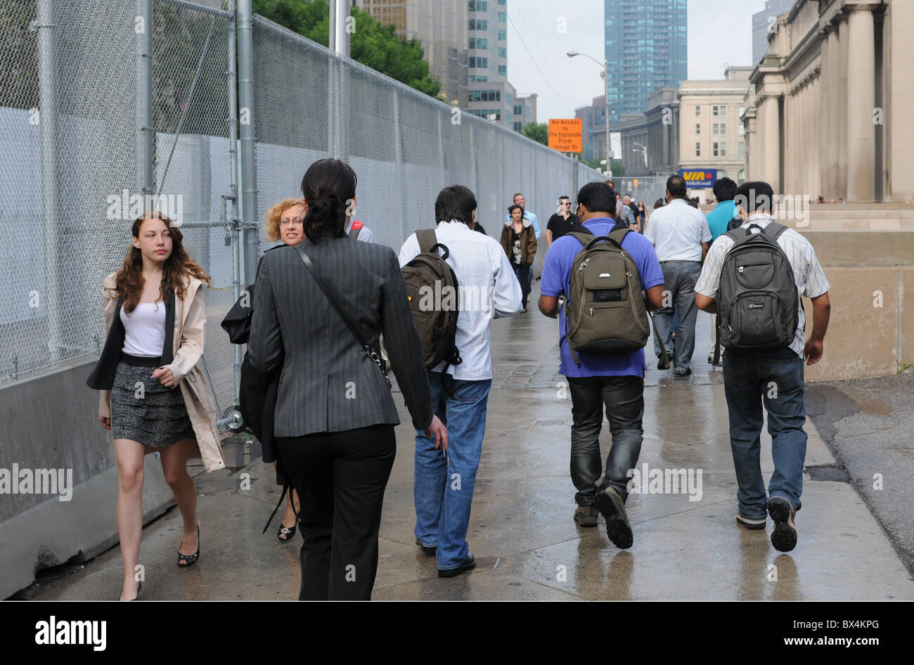 Security fencing erected in advance of the Toronto G20 Summit. - Stock Image